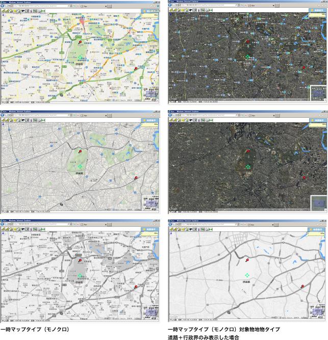 一時マップタイプ(モノクロ)/一時マップタイプ(モノクロ)対象物地物タイプ  道路+行政界のみ表示した場合